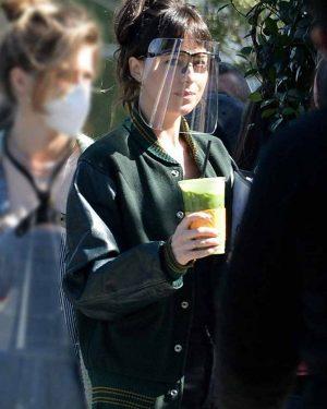 Dakota Johnson Am I OK Green Varsity Lucy Jacket