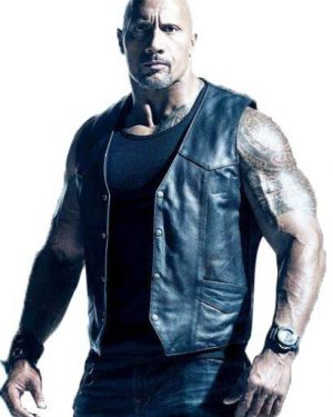 Dwayne Johnson The Fate of the Furious Black Leather Vest
