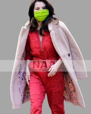 Selena Gomez Only Murders in The Building Shearling Faux Trench Coat