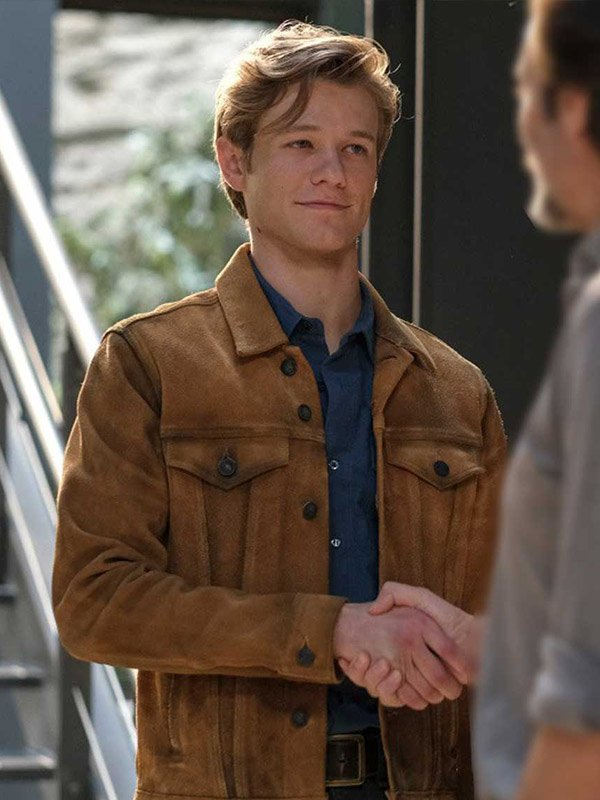 Lucas Till Angus MacGyver Brown Leather Jacket