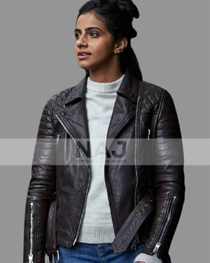 Yasmin Khan Doctor Who Mandip Gill Black Biker Leather Jacket