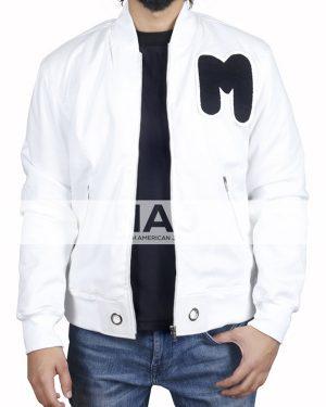 American DJ Marshmello White Cotton Bomber Jacket