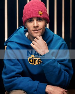 Men Celebrity Justin Bieber Blue Hoodie