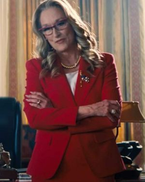 Janie Orlean Don't Look Up Movie 2021 Meryl Streep President Red Blazer