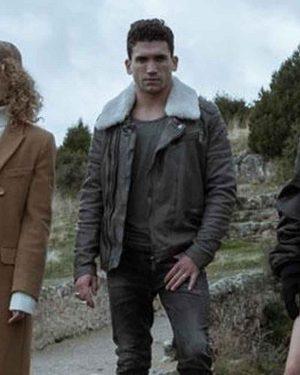 Jaime Lorente Money Heist Shearling Leather Jacket