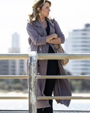 Lucy Lawless My Life Is Murder Season 02 Alexa Crowe Cotton Trench Coat