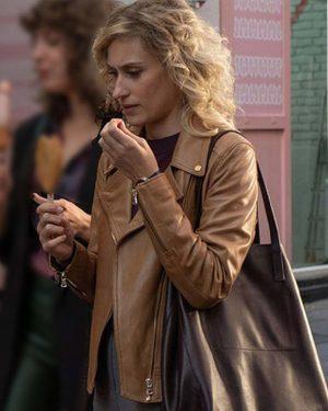 Teresa Riott Valeria Season 02 Nerea Brown Biker Leather Jacket