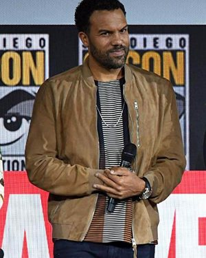 O-T Fagbenle Black Widow Event Brown Suede Leather Jacket