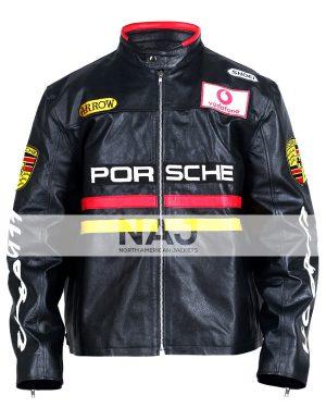 Porsche Racing Black Motocycle Leather Jacket