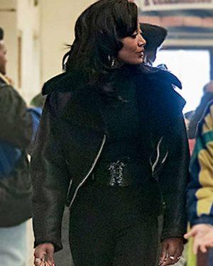Patina Miller Power Book III Black Biker Leather Jacket
