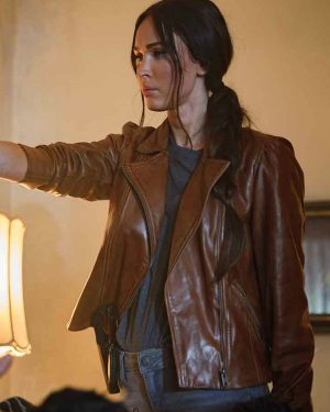 Megan Fox Midnight In The Switchgrass Brown Leather jacket
