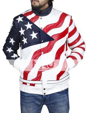 Vanilla Ice American Rapper American Flag Leather Jacket