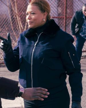 The Equalizer 2021 Queen Latifah Blue Bomber Shearling Jacket