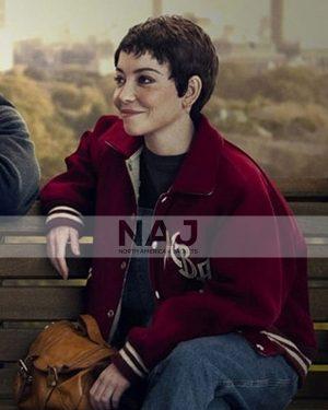 Sick of It Marama Corlett Red Wool Letterman Jacket