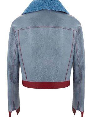 Love Life Sara Yang Blue Shearling Leather Jacket