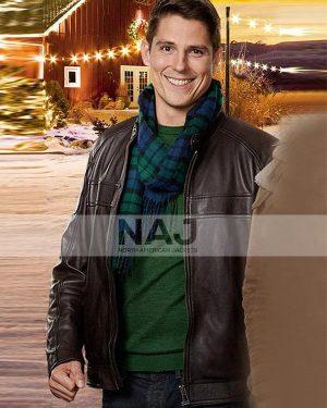 A Veteran's Christmas Sean Faris Brown Leather Jacket
