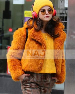 Only Murders in The Building S01 Selena Gomez Orange Fur Jacket