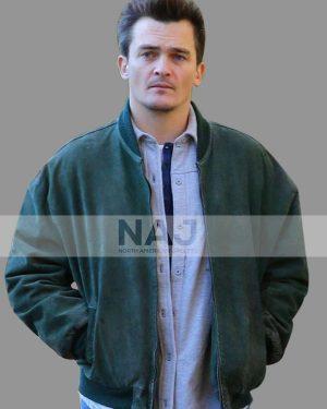 Rupert Friend Separation Green Bomber Suede Leather Jacket