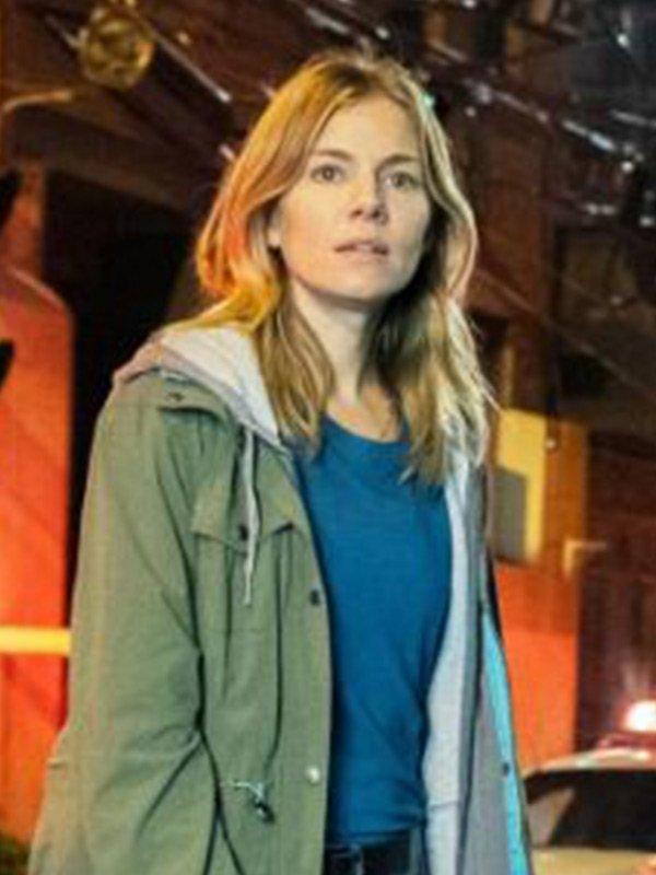 Sienna Miller 21 Bridges Green Cotton Hooded Jacket
