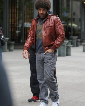 Soul Brother Anchorman 2 The Legend Continues Drake Bomber Brown Leather Jacket