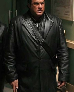 Against the Dark Steven Seagal Black Leather Trench Coat