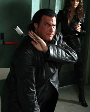 Steven Seagal Against the Dark Leather Trench Coat