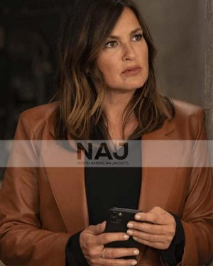 Olivia Benson Law and Order Brown Leather Blazer