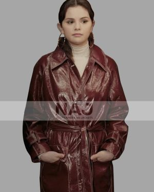 Selena Gomez Only Murders in The Building Maroon Faux Leather Coat