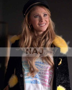 Juno Temple Ted Lasso Black Shearling Jacket