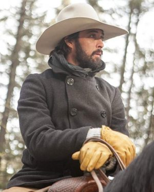 Ryan Bingham Yellowstone Gray Wool Coat
