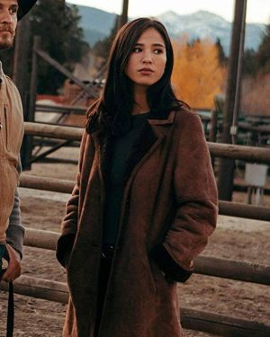 Kelsey Asbill Yellowstone Suede Leather Coat