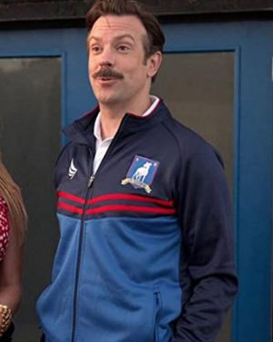 TV Series Ted Lasso Jason Sudeikis Polyester Blue Track Jacket