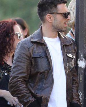 Sebastian Stan The 355 Nick Bomber Leather Jacket