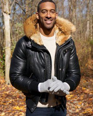 Matt James The Bachelor Black Leather Hooded Jacket