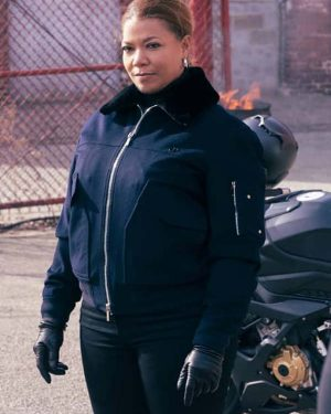 Robyn McCall The Equalizer 2021 Queen Latifah Blue Shearling Bomber Jacket