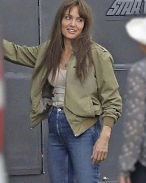 Hannah Faber Those Who Wish Me Dead Angelina Jolie Green Bomber Jacket