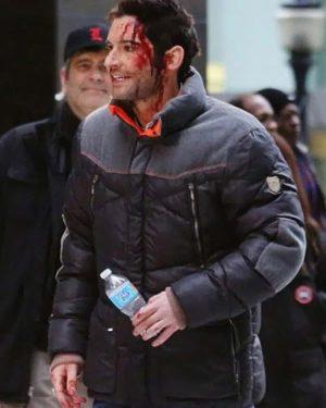 Tom Ellis Lucifer Season 06 Black Parachute Puffer Jacket