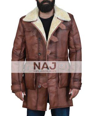 Bane Batman Dark Knight Brown Shearling Leather Coat