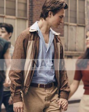 Ansel Elgort West Side Story 2021 Tony Cotton Brown Jacket