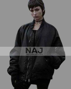 Tokio Money Heist Úrsula Corberó Black Bomber Jacket