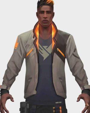 Video Game Valorant White Leather Phoenix Fiery Jacket