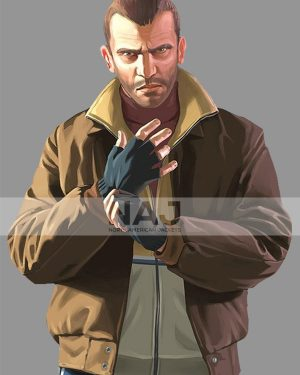 Niko Bellic Gta 6 Bomber Brown Leather Jacket