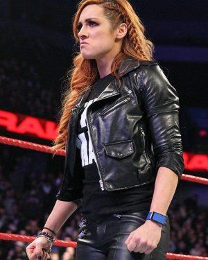 WWE Wrestler Becky Lynch Black Biker Leather Jacket