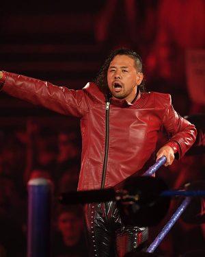 Wrestler Shinsuke Nakamura Red Leather Biker Jacket