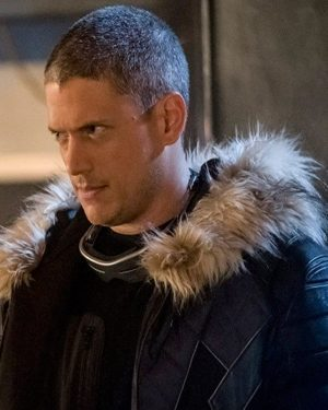 Wentworth Miller Crisis on Earth X Black and Blue Parka Shearling Jacket