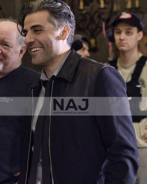 Oscar Isaac The Card Counter 2021 William Tell Black Leather Jacket