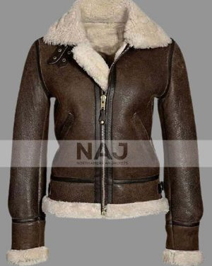 Women's Aviator Distressed Brown Shearling Leather Jacket