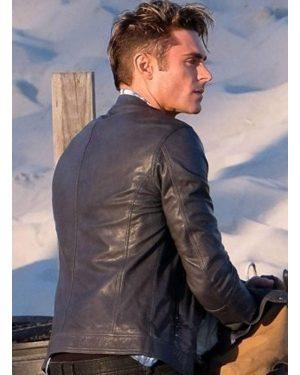 Zac Efron Baywatch Blue Leather Jacket