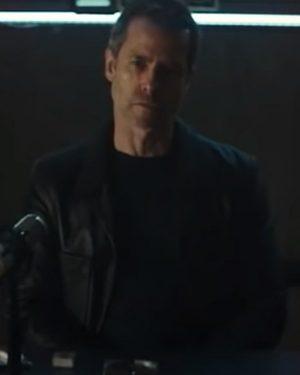 Guy Pearce 2021 Zone 414 David Carmichael Black Leather Blazer Jacket