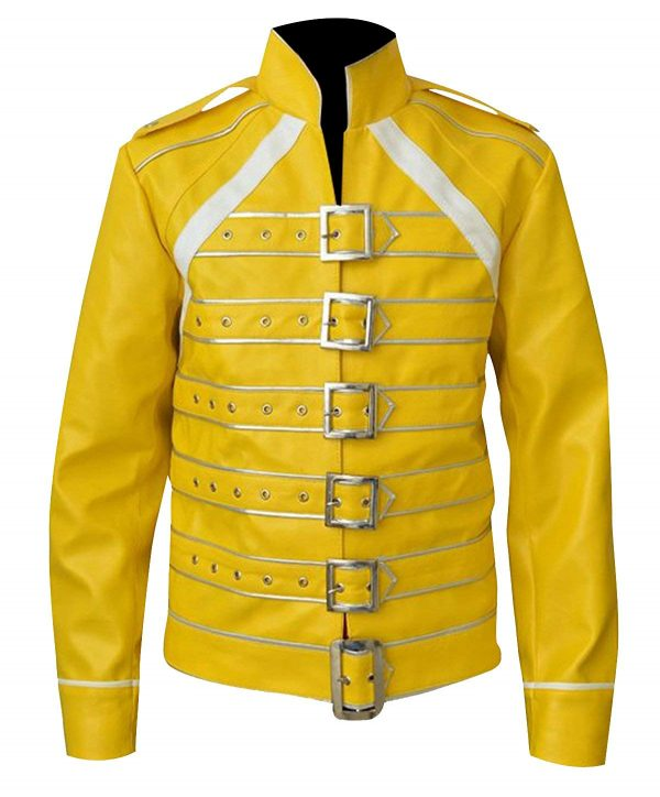 Freddie Mercury Yellow Belted Leather Jacket